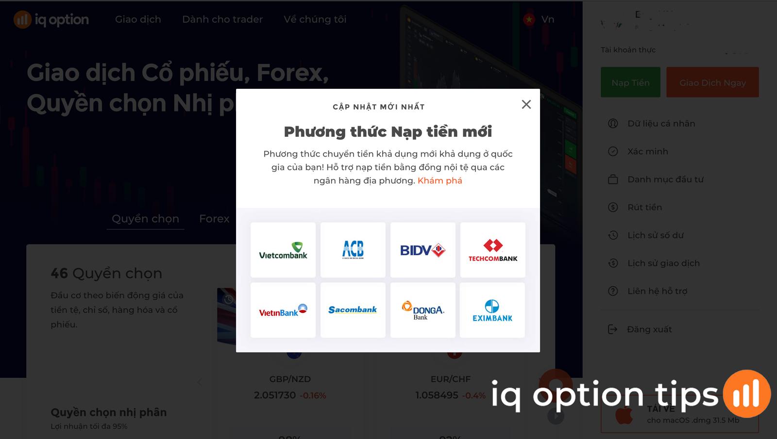 Hướng dẫn nạp tiền vào IQ Option từ tài khoản Internet Banking tại các ngân hàng Việt Nam