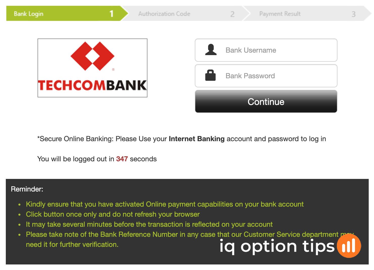 Nạp tiền IQ Option bằng tài khoản Techcombank