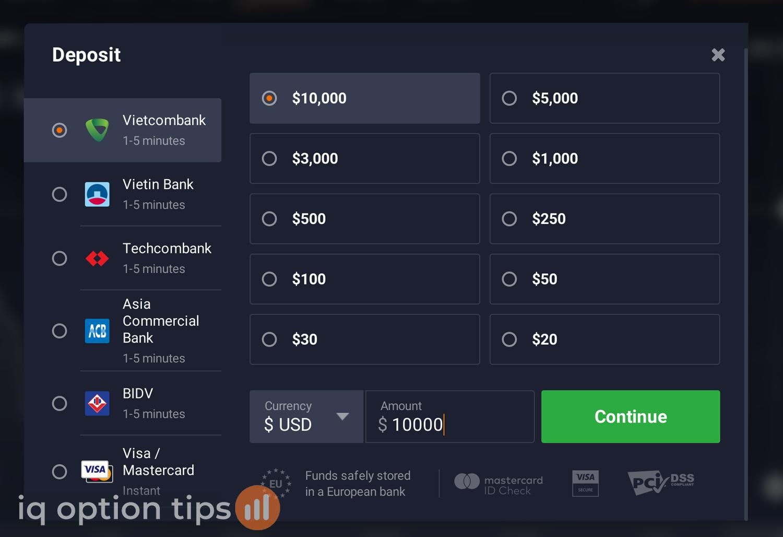 Giao diện nộp tiền vào iq option trong phần giao diện trade iq option