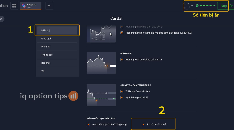Làm thế nào để ẩn số tiền của tài khoản trên IQ Option