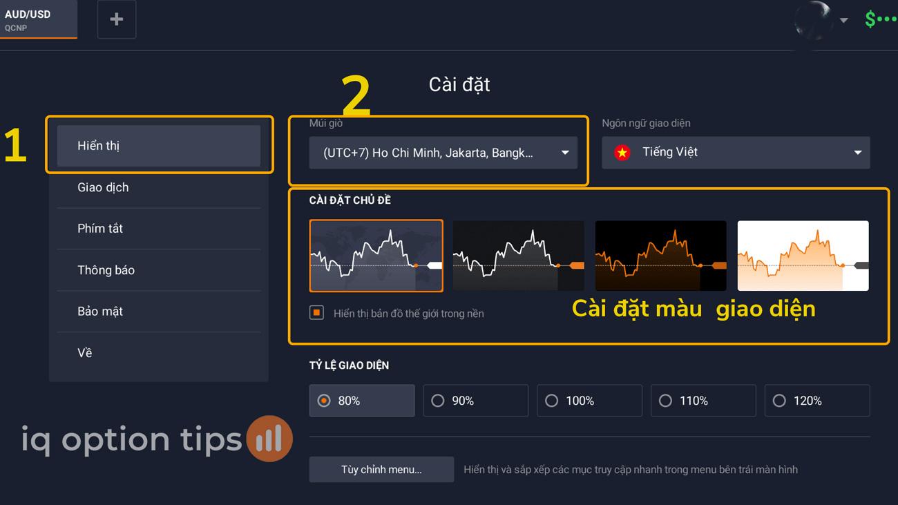 Thay đổi giao diện giao dịch để giữ bình tĩnh khi giao dịch tại IQ Option