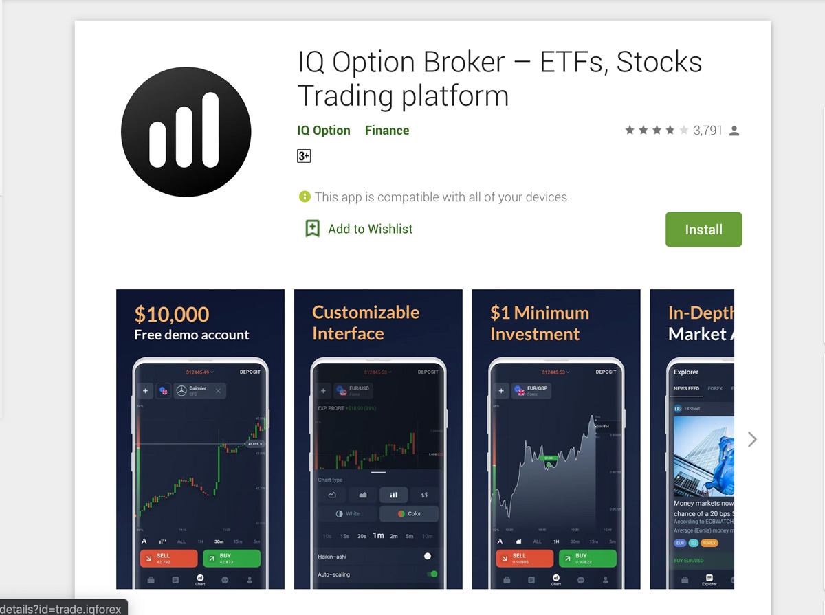 Download app IQ Option Broker cho điện thoại Android