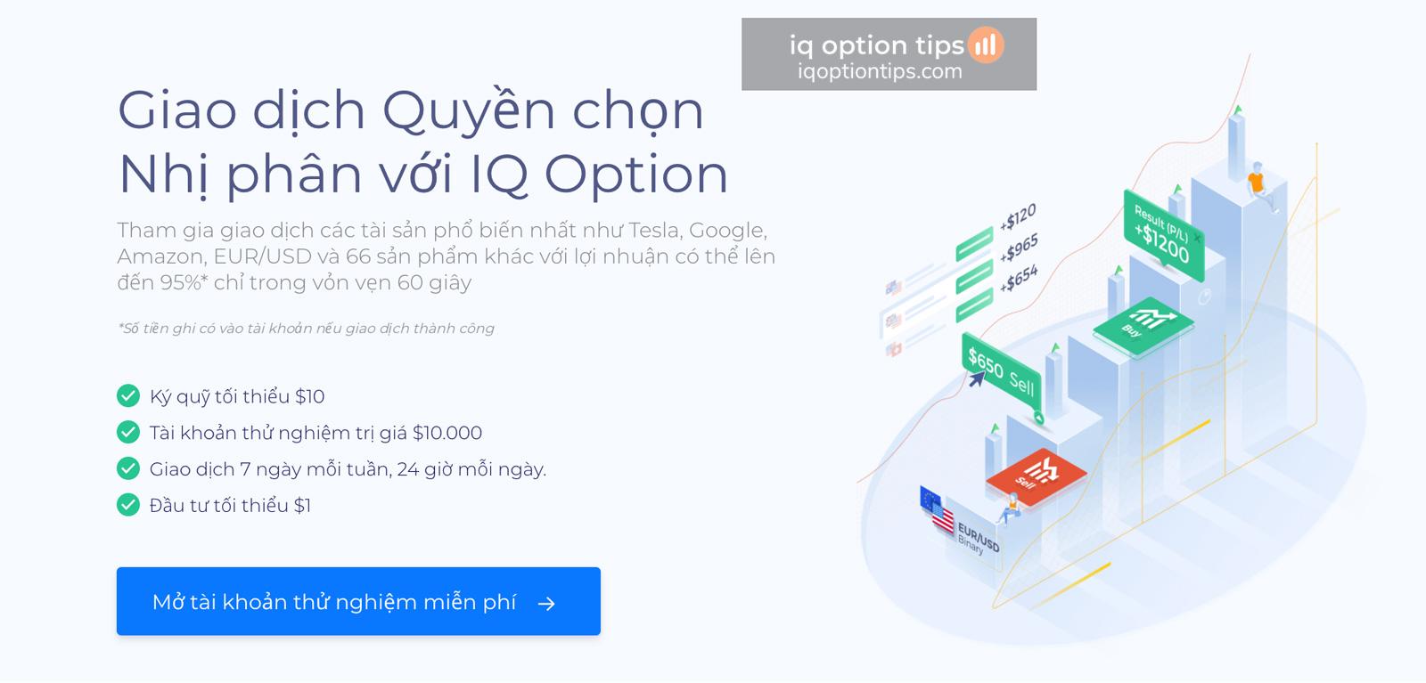 Bắt đầu giao dịch với tài khoản IQ Option Demo như thế nào?